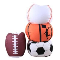 Wholesale Fabric Baby Bedding - 4 Colors 26 inch Football Basketball Baseball Storage Bean Bag Baby Stuffed Animal Plush Pouch Bag Organizer Beanbag CCA9412 10pcs