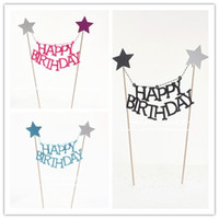 Wholesale Wholesale Flag Poles - English Letter Happy Birthday Design Cake Flag Wooden Pole Non Toxic Tag For Cup Cake Baking Decoration Tools Hot Sale 1 5hw Z