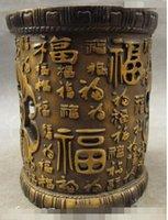 ingrosso matita di pipistrello-Folk cinese di buon auspicio Bronze Gilt 100 FuZi Bat Statue Brush Pot Pencil Vase
