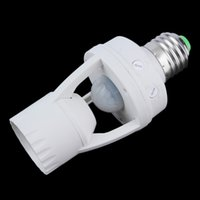 Wholesale Pir Lighting Control - 2017 New E27 PIR Induction Infrared Motion lamp Base Holder With light Control Socket Adapter