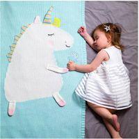 mavi arka planlar toptan satış-INS Bebek Unicorn Battaniye Wrap Çocuklar 3D Örme Halı Kundaklama Oğlan Kız Plaj Paspaslar Yenidoğan Bebek Fotoğraf Arka Plan Sahne HFC 002