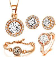 schmuck für hochzeiten großhandel-Luxus-18K Rose Gold überzogener glänzender Zircon-Kristallhalsketten-Armband-Ohrring-Ring-Schmucksache-Satz für Frauen gebildet mit Swarovski Elementen 4pcs / Set