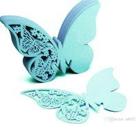 formas de tarjetas de mariposa al por mayor-Diy forma de mariposa tarjetas del lugar ahueca hacia fuera el diseño del banquete de boda decoración del hogar que inserta la tarjeta de múltiples colores creativo 0 23dd ii