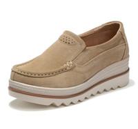 2018 automne femmes chaussures plates-forme chaussures sneakers chaussures  en cuir daim chaussures décontractées glisser sur les appartements talons  ... 78af7a67c74