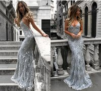 Wholesale sequined beaded prom dresses - 2018 New Sequined Lace Mermaid Cheap Prom Dresses Long Backless Criss Cross Floor Length Spaghetti Straps Formal Party Evening Gowns