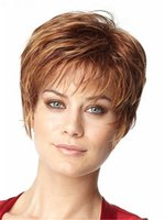 Wholesale Short Hair Wigs Fluffy Synthetic - light brown short fluffy hair wig Heat resistant fiber synthetic wig capless fashion wig for women
