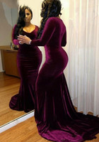 Wholesale Velvet Evening Gowns Crystals - Sexy Plus Size Mermaid Prom Dresses 2018 for Black Girls Velvet Long Sleeves V-neck Formal Party Dress Court Train Long Evening Gowns