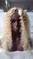ingrosso parrucche in profondità w-8-24inch 613 Colore Deep Wave 1x3 / 2x4 / 4x4 Lightest Blonde U parte parrucche Capelli vergini brasiliani 130% densità capelli umani parrucca Upart per le donne bianche