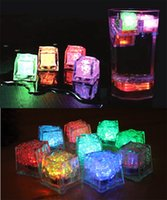 Wholesale square ice cube online - Flash Light Ice Cube LED Ice Cube Water Actived Flash Led Light Square Ice Cube Crystal Lamp Cubes Flash Automatically for Party Bars