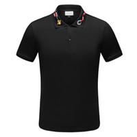 erkekler için markalı polo gömlek toptan satış-Moda Marka tasarımcısı polos erkekler Rahat t gömlek Işlemeli Medusa Pamuk polo Gömlek Yüksek sokak yaka Lüks Polos gömlek