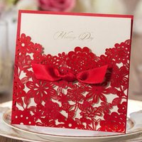 Wholesale engagement invitations cards lace resale online - Red Square Laser Cut Flower with Bowknot Lace Pocket Engagement Wedding Invitations Card