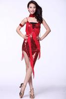 trajes de dança de lantejoulas venda por atacado-Sexo vestido de dança latina mulheres usam dançando conjuntos Costumes lantejoulas Latin Dance dança latina terno de três peças colar de saia + estágio círculo braço + pano