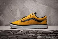 Wholesale mens high top tennis shoes - 18-19 Vans X The North Classic Leather Skateboard Shoes Women Mens Old Skool Yellow High Top Red Face Designer Casual Canvas Sneakers face
