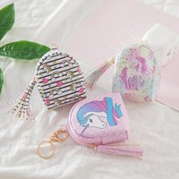 Wholesale lovely ladies clothes online - Data Line Storage Bag Lovely Unicorn Children Cartoon Coin Purse Key Case Printing Tassels Pu Skin For Lady by ff