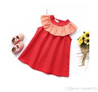 chiffon short round dresses 2018 - New Summer girls dress ruffles round collar orange short dress girl's elegant dress kids clothing