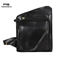 Wholesale multipurpose handbag - Men Fashion Vintage PU Leather Chest Packs Multipurpose Small Shoulder Handbags Male Teenager High Quality Messenger Bags New