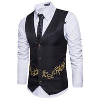 Wholesale men s gold waistcoats - Gold Print Men Suit Vest Gilet Homme Costume 2017 Fashion Slim Fit Men Waistcoat Colete Casual Business Wedding Mens Dress Vests