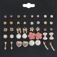 ingrosso carte assortite-20 paia / set assortiti orecchini con perno set con carta fiore orecchini di perle per donne ragazze gioielli supporto FBA Drop Shipping H319R