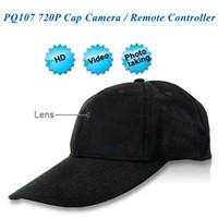 beyzbol kap video kamera toptan satış-8 GB 1280 * 720 P Beyzbol Kap kamera, Şapka Mini DV, DVR Kap kamera, Kamera Video Kaydedici Uzaktan Kumanda Kamera PQ107