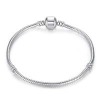 yaka gümüş çekicilik boncuk toptan satış-Fabrika Toptan 925 Ayar Gümüş Bilezikler 3mm Yılan Zincir Fit Pandora Charm Boncuk Bileklik Bileklik Takı Hediye Erkekler Kadınlar Için