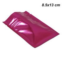 пищевые упаковочные материалы оптовых-200 штук 8.5x13 см розовый алюминиевый Zip Lock упаковка мешок герметичный майларовой фольги упаковочный материал пищевой мешок для кухни приготовления пищи