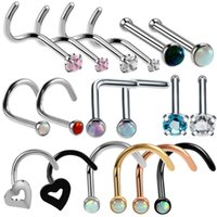 Discount nostril rings - 1PC 20G Steel Nose Rings Nariz Earrings Nostril Piercings CZ Opal Piercing Nose Screw Curved Prong Stud Rings Body Jewelry