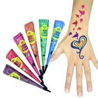 heiße körpermalerei großhandel-GUJHUI Hot Fashion 12 teile / satz 6 Farben Henna Body Tattoo Paste Cremetüten Indian Punk Tattoo Ink Paste Für Körperbemalung Neu