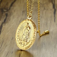 Wholesale medal pendant for sale - Group buy Men s Our Lady of Guadalupe Medal Pendant Necklace in Stainless Steel Gold Tone Virgin Mary Patron Saint Medals Male Jewelry