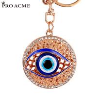 Wholesale Personalized White Gold Rings - PRO ACME Personalized Metal Crystal Evil Eye Key Ring Unisex Keyring Car Keychain Women Charms HandBag Pendant llaveros PWK0383