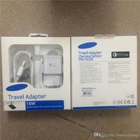 cargador de pared sincronizado al por mayor-2 en 1 kit EU US 5V 2A cargador de pared de carga rápida adaptador de viaje a casa + 1.5M sincronización micro usb cable con paquete al por menor para Samsung S5 S6 S7