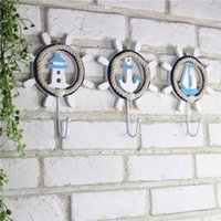 Wholesale Wall Mount Hat Rack - Mediterranean Style Wall Mounted Coat Robe Clothes Hooks Hanger Bath Towel Hat Organizing Rack Holders