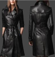 abrigo ajustado negro al por mayor-NUEVO Abrigo de mujer nuevo Faux / PU Leather negro Slim Fit Trench Coat Jacket Belt Overcoat