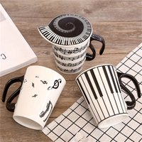 Wholesale Musical Water - 2017 New Creative Ceramic Coffee Mug With Lid Music Note Piano Keys Musical Porcelain Water Milk Cup 270ml