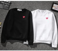 Wholesale heart print sweater - 2018 new men's sweater classic small embroidery heart red sweater men and women round neck casual lovers