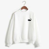 Wholesale harajuku cartoon hoodies women resale online - 2017 Autumn Casual Harajuku Kawaii Black Cat Sweatshirts Women Long Sleeve Turtleneck Tops Pullover Funny Cartoon Print Hoodies