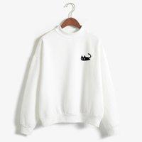 schwarzer rollkragenpullover großhandel-2017 herbst Casual Harajuku Kawaii Schwarze Katze Sweatshirts Frauen Langarm Rollkragen Tops Pullover Lustige Karikaturdruck Hoodies