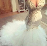 Wholesale sweetheart mermaid bling wedding dresses - Charming 2018 Mermaid Wedding Dresses Sweetheart Bling Crystal Beaded Tiered Skirts Sexy Backless Custom Made Elegant Bridal Gowns BA2307