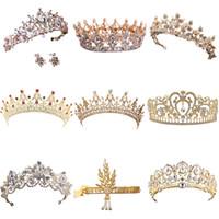 ingrosso regina cristallo di tiara della corona-Vendita calda oro tiara di cristallo corona per accessori per capelli da sposa principessa regina matrimonio corona strass gioielli da sposa
