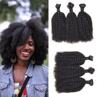 melhor cabelo humano natural kinky venda por atacado-4a, 4b, Encaracolado Afro Kinky 3 pcs Nenhum Trama A Granel Humano Trança de Cabelo Cor Natural Best Selling Products G-EASY