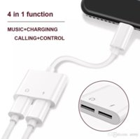 Wholesale cheap apple earphones - Data Cable Cheap Genuine Charging Cable Adapter 2 in 1 For Lighting Earphone Headphone Data Adapter Connector Convertor Cable