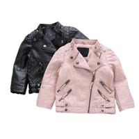 ingrosso pu giacche per bambini-Giacca per ragazzi in pelle PU Giacche per bambini in abbigliamento per bambini Capispalla per bambini per neonate Abbigliamento per ragazzi Cappotti Costume 2-8 anni