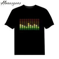 ingrosso lampeggiante musica tshirt-Saldi T-shirt LED Sound Activated Su e giù Lampeggiante Equalizzatore musica attivato ELT-Shirt Unisex per Rock Disco Party DJ S917