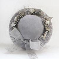 Wholesale photo parts - 2018 Promotion Faire Part Mariage Feis Wholesale Grey Gauze Flower Vintage Hat Bride Wedding Accessory Photo Shoot, Album, Dress Accessories