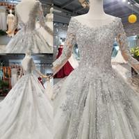 ingrosso nuovo abito da sposa sorprendente-New Fashion Stunning manica lunga abiti da sposa in rilievo 2019 Paillettes Lace-up Abiti da sposa Abiti da sposa sposa