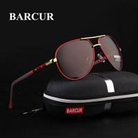 sürücü hd toptan satış-BARCUR Erkekler Güneş Gözlüğü 2018 Marka Orijinal HD Polarize Sürücü gözlük Polaroid Güneş gözlükleri Erkek Pilot Gözlük