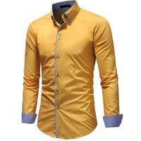 Wholesale mens double shirt dress for sale - Group buy Vibrant Slim Fit Double Button down Collar Solid Dress Shirts Mens Clothes Long Sleeve Mans Shirts Casual Male Social Shirt