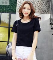 damen t-shirt modelle großhandel-Heißer Verkauf Mode Mädchen Frauen t-shirt Damen Qualität Baumwolle T-shirt Plue Größe Kurzarm Lose Fit Femme Stil Modell