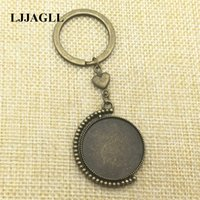 Wholesale ring base 25mm for sale - Group buy Antique bronze Love Heart Keyrings mm Rotation Cameo Base Double Side Keychain Key Ring Diy Jewelry Make Love AYSQ218