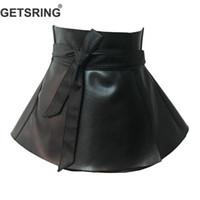 ingrosso vestito nero dal corsetto dalla fasciatura-GETSRING Cintura donna ampia fascia in pelle PU cinturino in vita nera Cintura stringata e cravatta nera intera corsetto per vestito