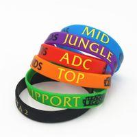 liga-legenden unterstützen armbänder großhandel-12PCS / lot LOL Armband-Liga des Legenden-Armband-Silikon-Armbandes mit ADC, DSCHUNGEL, MITTLER, UNTERSTÜTZUNG, DOTA 2 gedrucktes Band SH001
